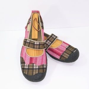 Keen Harvest Mary Jane Fall Pink Plaid Size 8